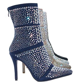 Event98 Rhinestone Studded Stiletto Bootie- Womens Crystal Ankle Height Boot