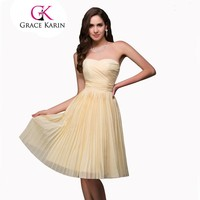 Bridesmaid Dress Gown Yellow Knee Length Short Bridesmaid Dresses Chiffon Sweetheart Party Prom Dresses