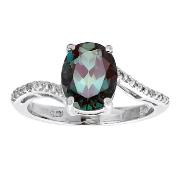 3 Ct Oval Created Alexandrite .01 cttw Diamond 925 Sterling Silver Ring