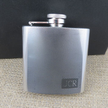 Personalized Flask - Textured Stainless Steel - Monogrammed- Engraved-Groomsmen- Mens Gifts(118)