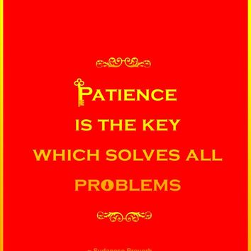 Patience is the key which solves all problems