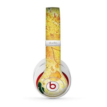 The Yellow Leaf-Imprinted Paint Splatter Skin for the Beats by Dre Studio (2013+ Version) Headphones