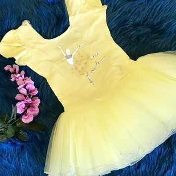 2018 Summer Stunning Yellow Flower Petals Ballet Tutu Leotard