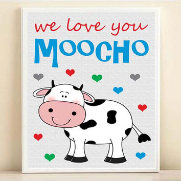 "Nursery Baby Cow Art Print with Hearts: ""We Love You Moocho"" 8x10 in Custom Colors"