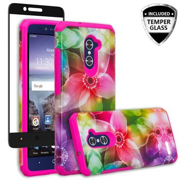 ZTE ZMAX Pro Case, ZTE Blade X Max, ZTE Carry, [Include Temper Glass Screen Protector] Slim Hybrid Dual Layer Armor[Shock Absorbent] Case for ZMAX Pro - Flower Lily