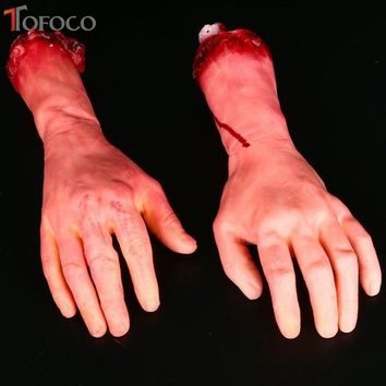 TOFOCO Severed Scary Cut Off Bloody Fake Latex Lifesize Arm Hand Halloween Prop Bloody Fake Body Part Realistic