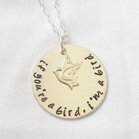 If You're a Bird, I'm a Bird Necklace ~ Sterling Silver, Hand Stamped, The Notebook, Quote, Love, Bird