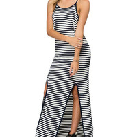 Black Stripe Spaghetti Strap Side Split Back Deep V Maxi Dress