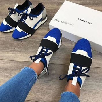 Balenciaga Fashion Race Runners Women Men Comfortable Sneakers Casual Shoes Blue/White