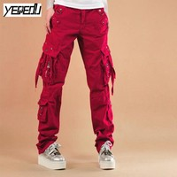 #0930 2017 Unisex Hip hop pants Pleated Loose Fashion Cargo pants for females Plus size Red/black Straight cargo pants women men