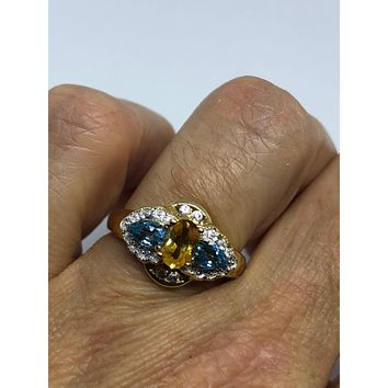 Vintage Handmade Golden Genuine Citrine Blue Topaz 925 Sterling Silver gothic Ring