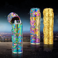 High Quality Sculpture Classic Gold Dragon Electric Pulse Arc Cigarette Lighter Men USB Lighter Business Gifts Lighters-JL151