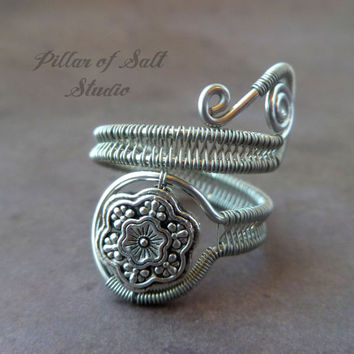 Snowflake Wire Wrapped Ring / wire wrapped jewelry handmade / adjustable ring / wire jewelry / silver / woven wire jewelry / boho jewelry