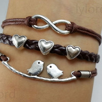 Infinity, Heart& Love Birds Charm Bracelet in Antique Silver-Wax Cords and Leather Bracelet, Best FriendshipGift