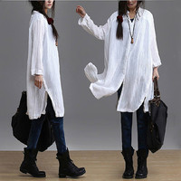 Loose Fit White Cotton Linen Shirt Long Sleeve Fall/Autumn Blouse Side Open Tops Women Clothing