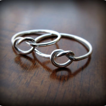 Friendship knot rings  best friends sterling silver by junedesigns
