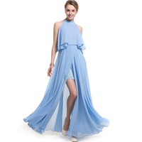Women Dress Pleated One-piece Chest New Elegant Backline Long Sexy Evening On Line Plus Size Strapless Evening Gown Dress
