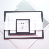 Modern Gray Wedding Invitation - SAMPLE SET