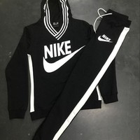 """Nike"" High Quality Print V-Neck Sweatshirt Sweater Pants Sweatpants Set Two-Piece Sportswear Black"