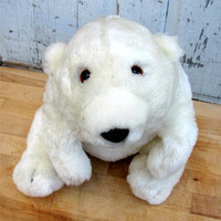 Look into those big, brown eyes...can you refuse to take him home with you/ Adorable Vintage Stuffed Polar Bear/ Soft and Cuddly
