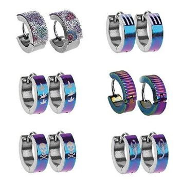 BodyJ4You Hoop Earrings Piercings Huggie Earring Rainbow Value Pack 6 Pairs