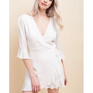 honey belle - the only one wrap mini dress - white