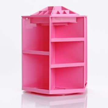 Durable 360 Degree Rotating Assembly Hanger Style Cosmetics Organizer Make up Display Spinning Rack (pink)