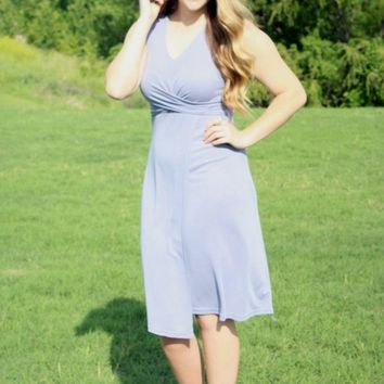 Summer Escape - Slate Blue Modal Knit Midi Dress with Front Cross detail