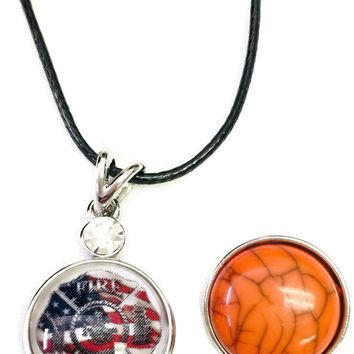 "Fire Rescue Shield With USA Flag Firefighter Thin Red Line Snap on 18"" Leather Rope Diamond Pendant Necklace W/ Extra 18MM - 20MM Snap Charm"