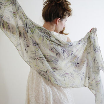Light Beige Floral Sheer Scarf: cream green yellow purple Jane Austen Persuasion autumn winter scarf wedding wrap bridal shawl ANNE