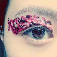 1 Pair of Temporary Tattoo Transfer Stickers for Eyes Eyelids Pink Black Military Pattern for Prom Festival Clubbing Cosplay Party