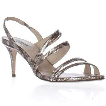 L.K. Bennett Addie Sling-Back Dress Heels Sandals, Silver, 6 US / 36.5 EU