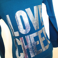 Love Cheer Teal Silver Sequin Hoodie Jacket
