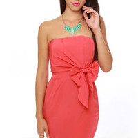 Sash-lee Simpson Strapless Coral Red Dress