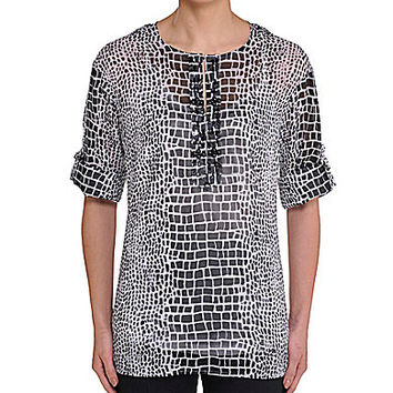 Peter Nygard Printed Beaded Roll-Tab Tunic - White/Black