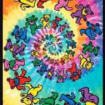Grateful Dead - Spiral Dancing Bears Blacklight Poster