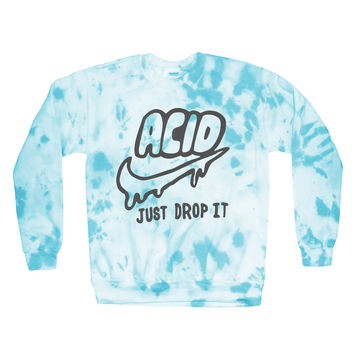Acid Just Drop It Sweatshirt | Black on Tie Dye | Killer Condo Apparel