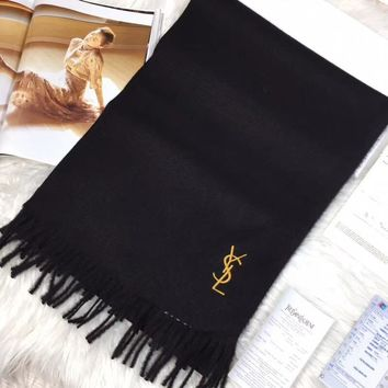 YSL Women Embroidery Cashmere Warm Winter Scarf Scarves