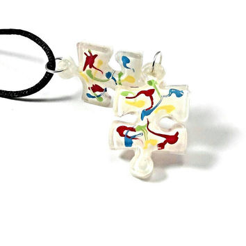 Autism necklace, autism jewelry, autism pendant, puzzle necklace, mom necklace, multi colored resin puzzle piece jewelry, birthday gift.