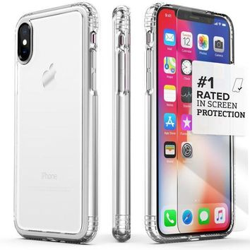 CREYV2S iPhone X Case, SaharaCase Protective Kit Bundle with [ZeroDamage Tempered Glass Screen Protector] Rugged Protection Anti-Slip Grip [Shockproof Bumper] Anti-Scratch Back Slim Fit iPhone 10 - Clear