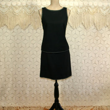 90s Sleeveless Black Wool Dress 60s Style Skirt Set Midi Small Size 4 Ann Taylor White Top Stitching Womens Clothing Vintage Clothing