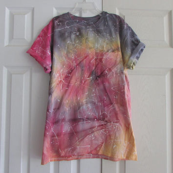 Colorful Texturized Customizable  Sunburst Unisex Tee Shirt With Fuschia, Burnt Orange, Lemon Yellow, and Black Tie Dye