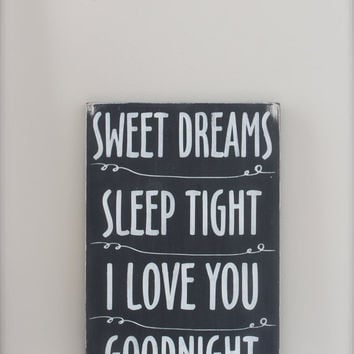 Sweet Dreams Sign, Chalkboard Sign, Nursery Sign, Wall Art, Wood Sign, Vintage Sign, Typography