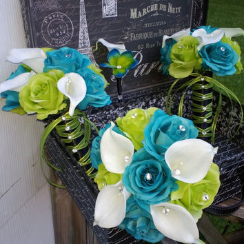 17 Piece Malibu Blue Lime Green White Wedding Bouquet Flower Set with Matching Boutonnieres & Corsages