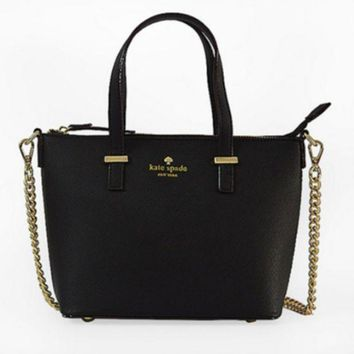 ac NOVQ2A Spade Women Shopping Leather Tote Handbag Black