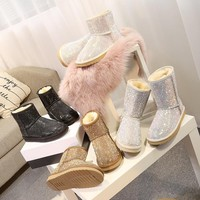 RUIYEE ladies boots snow boots fashion leather slide shoes 2018 winter new women's boots snow boots