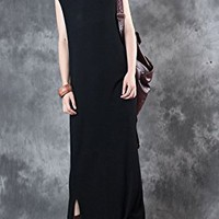 Women's Black Jersey Dress Casual Loose Fitting One Size