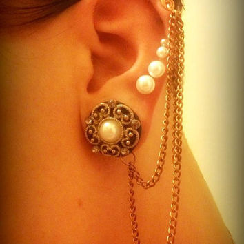 Customized Chained Ear Cuff for Plugs and Earrings