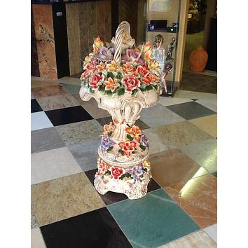 Very Large Porcelain Flowers Decor Basket