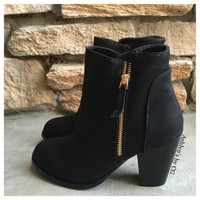"""Style and Flare"" Always Faithful Black Heel Bootie Boots"